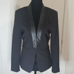 H&M open blazer with faux leather trim. Size 8.